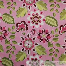 BonEful Fabric Cotton Quilt Pink White Green Leaf Flower Toile Dot Girl 99 SCRAP