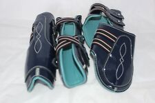 Navy With Sky Blue Cow Softy Leather Lining Tendon & Fetlock boots (PONY)