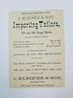 1885 New Haven Connecticut Advertisement Kleiner & Son Tailor Bretzfelder Goods