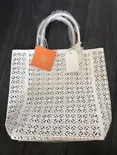 Authentic Tory Burch Large White Lace Perforated Patent Tote Bag Handbag Limited