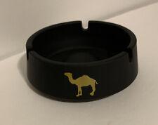 Camel Ashtray Black Glass Yellow Lettering RJ Reynolds New