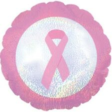Breast Cancer Awareness Pink Ribbon Latex Free Foil Dazzeloon Balloons 3 pack