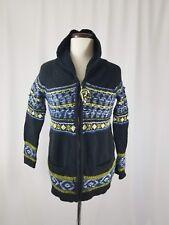 Sparrow Anthropologie Black Wool Nordic Fairisle Knit Full Zip Sweater Sz M