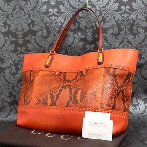 Rise-on GUCCI Python Leather Red Orange Bamboo Tote Bag Shoulder Bag #68