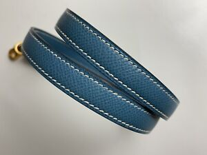 HERMES Shoulder Strap Epsom Blue Jean Gold Hardware for Kelly Bolide Rare