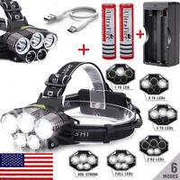 250000LM 5XT6 LED Headlamp Rechargeable Head Light Flashlight Torch Lamp 18650