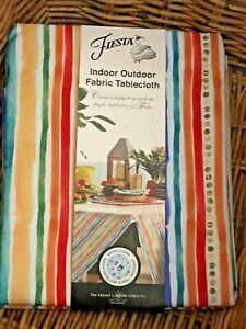 Fiesta GARDEN STRIPE 60 x 84 Tablecloth Indoor Outdoor Water Repellent