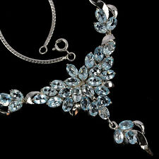 Sterling Silver 925 Genuine Natural Rich Blue Topaz Cluster Necklace 18 Inch