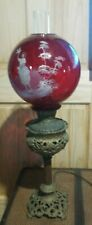 Antique Table - Piano Lamp W/ Hand Painted Cranberry Shade
