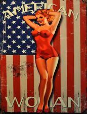 "TIN SIGN ""American Woman"" Pinup Babe Deco Garage Wall Decor"