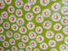 WACHSTUCH ,Tischdecke,Blumen,Meterware, 0,5m x 1,40m , beschichtet,grün ,weiß