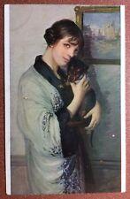 Antique Salon Lapina Russian postcard 1917 Chien Dog Dachshund Artist MORGAND
