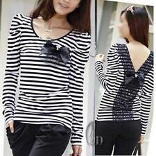 Cotton Blend Casual Striped Petite Tops for Women