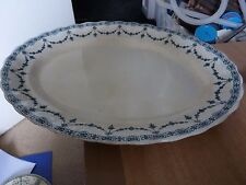 VINTAGE circa 1930 LOSOL WARE MEAT PLATTER - WHITE WITH BLUE PATTERN