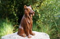 außergewöhnliche Holzfigur Hund Collie Holz handgeschnitzt 20 cm Künstlerarbeit
