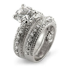 Round Cubic Zirconia Bridal Set Wedding Engagement Ring Sterling 925 Silver Sz 7