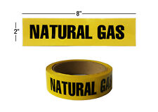 "NATURAL GAS Yellow Pipe Marker Stickers, 2"" x 8"", 135 Labels per Roll"