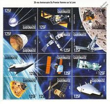 APOLLO XI Moon Landing/Satellites/Shuttle/Sputnik Space Stamp Sheet (1999 Gabon)