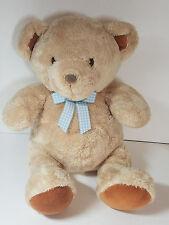 Carter's Just One Year Prestige Toy Teddy Bear Beige Blue Gingham Bow Lovey