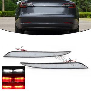 2x LED Rear Bumper Reflector Lamp Fog Brake Light For Tesla Model S 2012-17 2018