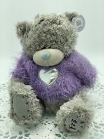 Me To You Tatty Teddy Bear Purple Jumper, Silver Heart, Blue Nose, Carte Blanche