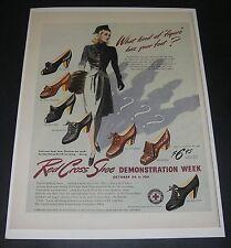 Print Ad 1942 FOOTWEAR Women's Red Cross Shoes ART 7 Styles WW ll Fashion