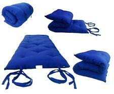King Traditional Floor Futon Mattresses Cotton/Foam 80L x 72W x 3T, Royal Blue