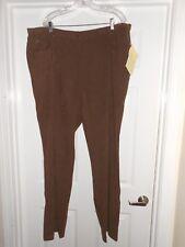NWT-QVC DENIM & CO brown microsuede pants sz 26W TALLFALL WINTER FREE SHIP NEW!