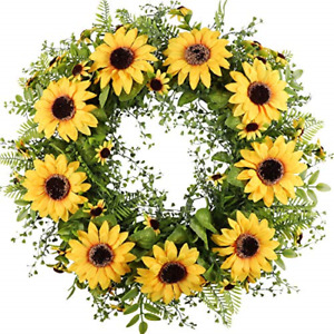 """Artificial Sunflower Wreath for Front Door 17""""Faux Floral Round Spring"""