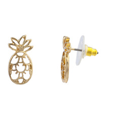 Tropical Fruit Pineapple Stud Earrings Lux Accessories Gold Tone Cut Out