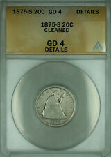 1875-S Twenty Cent Piece 20c Silver Coin ANACS G-4 Good Details Cleaned