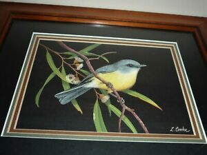 STUNNING WATERCOLOUR & AIRBRUSH BIRD PAINTING FRAMED BY ARTIST LYN COOKE