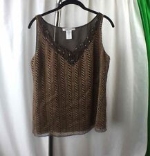 NINE WEST Womens Blouse w/ Sequins Bling Details Sleeveless 100% Silk Size 4