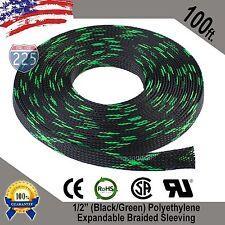"100 FEET 1/2"" Black Green Expandable Wire Sleeving Sheathing Braided Loom Tubing"