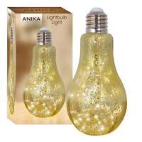 Metallic Retro Light Bulb Table Lamp Gold Crackle Effect Glass 20 Warm White LED