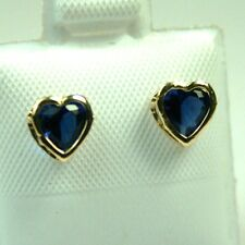 14K solid yellow gold heart Saphire 5mm screw back earings for babies/teens