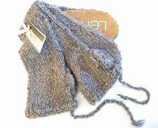 Lemon Ladies Boucle Knit Slouch Tassle Mukluk Slipper Socks Cappuccino - NEW