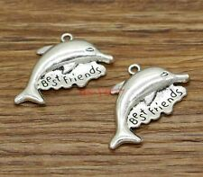 12pcs Large Best Friends Dolphin Bff Friendship Charms Antique Silver 34x24 2615