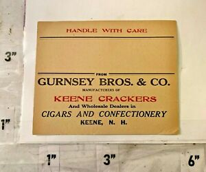 1900s Gurnsey Bros Co Crackers Cigars Confectionary Ad Card Keene New Hampshire