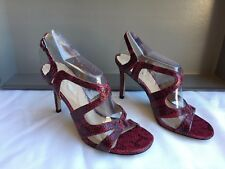 VIA SPIGA MYSTIQUE Deep Red Snake Leather High Heels Size 9 MSRP $198