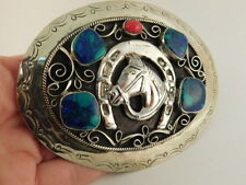 CORAL TURQUOISE NICKEL SILVER BELT BUCKLE HORSE LUCKY HORSESHOE MEXICO