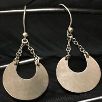 "LOVELY ESTATE STERLING SILVER HALF MOON CRESCENT DANGLE EARRINGS 2 1/8"" X 15/16"""