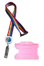 Rainbow Retractable Badge Reel Lanyard With Safety Breakaway & Pink Card Holder