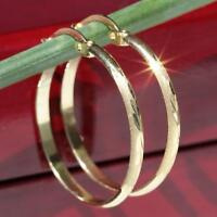 "10k 417 yellow gold earrings 1.0"" diamond cut hoop vintage handmade 1.5gr"