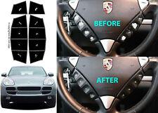 Matte Black Steering Wheel Button Repair Stickers For 2003-2006 Porsche Cayenne