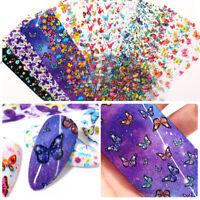 10Pcs Nagel Folien Schmetterling Nail Art Transfer Aufkleber Papier Dekoration