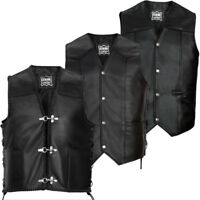 Mens Genuine NAPA Leather Biker Waistcoat Motorbike Motorcycle Coat Gilet Vest
