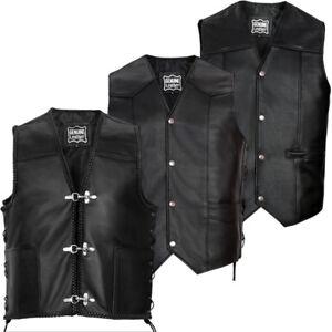 Mens Genuine NAPA Leather Biker Waistcoat Motorbike Motorcycle Coat Gilet Vest
