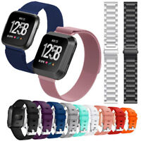 For Fitbit Versa Smart Sports Watch Band Silicone Bracelet Stainless Steel Strap