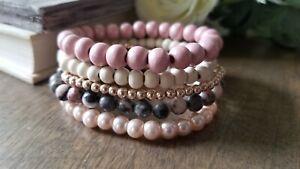 Stretch beaded bracelet set, Pink And Grey Jasper Stone, Wood,  Pearl, Handmade,